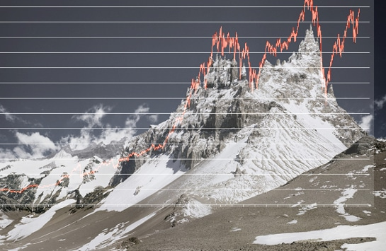 Michael Najjar's High Altitude photo superposed with Dow Jones chart