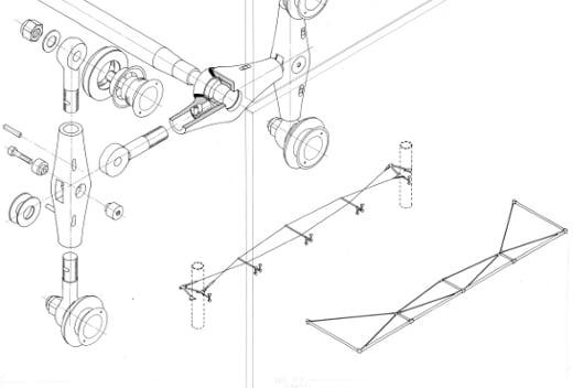 Montage architectural pour panneaux de verre pour LES DE LA CITÉ DES SCIENCES ET DE L'INDUSTRIE, PARIS. Dessin realisé par Hugh Dutton.